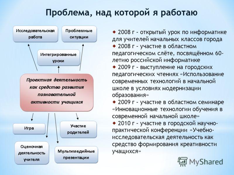 Проблема, над которой я работаю 2008 г – открытый урок по информатике для учителей начальных классов города 2008 г – участие в областном педагогическом слёте, посвящённом 60- летию российской информатике 2009 г – выступление на городских педагогическ