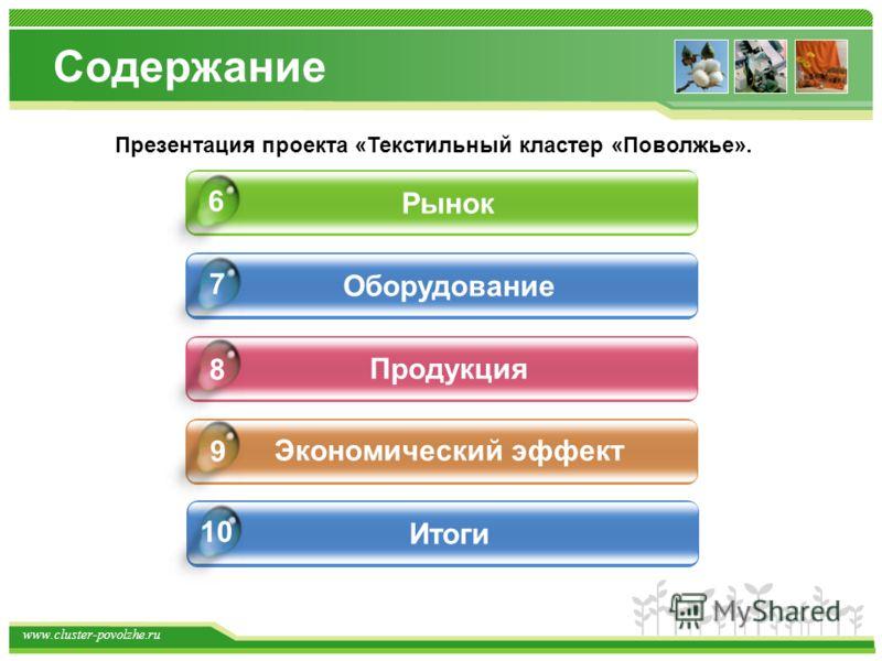 www.cluster-povolzhe.ru Содержание Рынок Оборудование Продукция Экономический эффект 9 6 7 8 Презентация проекта «Текстильный кластер «Поволжье». Итоги 10