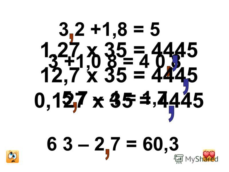 3 2 +1,8 = 5 3 +1,0 8 = 4 0 8 5 7 – 4 = 1,7 6 3 – 2 7 = 60,3 1,27 х 35 = 4445 12,7 х 35 = 4445 0,127 х 35 = 4445