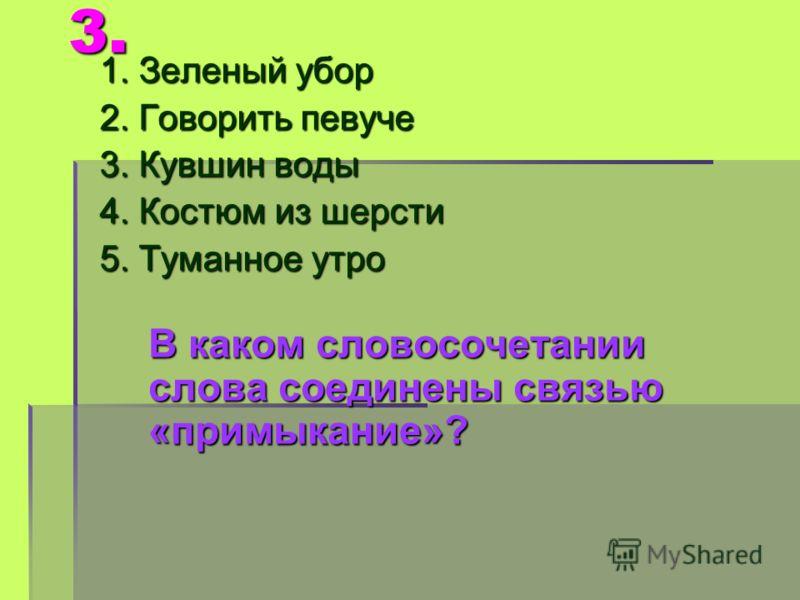 3. 1. Зеленый убор 2. Говорить певуче 3. Кувшин воды 4. Костюм из шерсти 5. Туманное утро В каком словосочетании слова соединены связью «примыкание»?