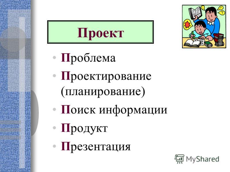 Проблема Проектирование (планирование) Поиск информации Продукт Презентация Проект