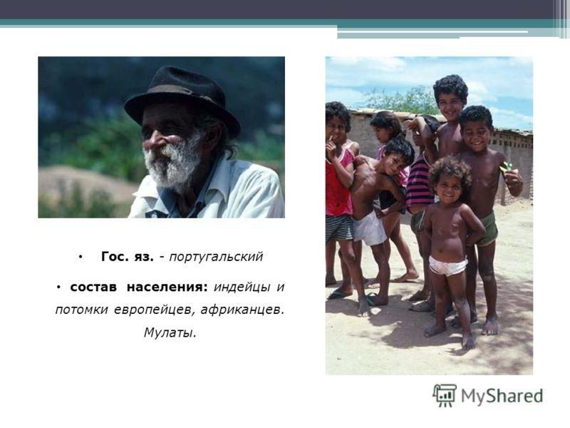 Гос. яз. - португальский состав населения: индейцы и потомки европейцев, африканцев. Мулаты.