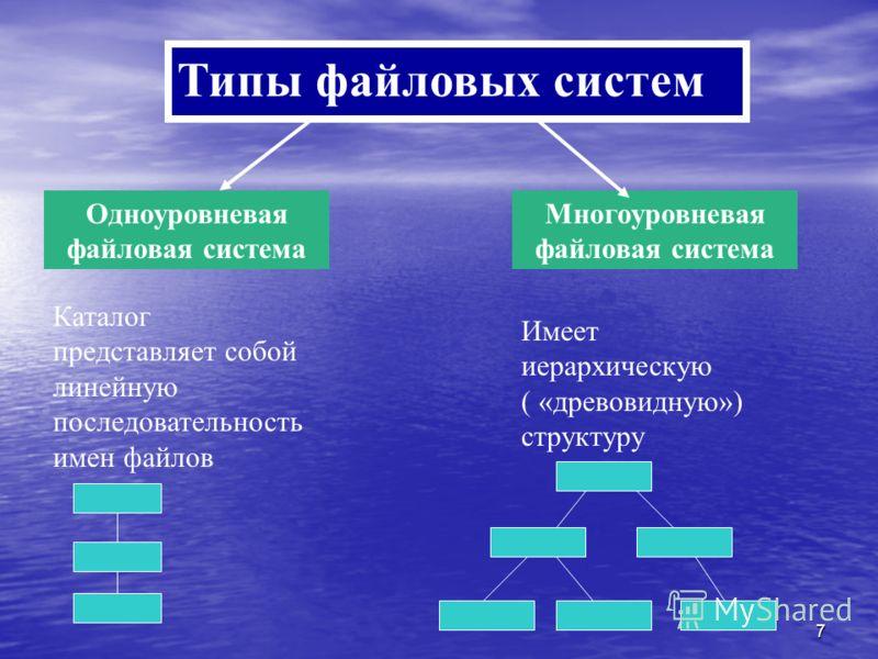 7 Типы файловых систем Одноуровневая файловая система Многоуровневая файловая система Каталог представляет собой линейную последовательность имен файлов Имеет иерархическую ( «древовидную») структуру
