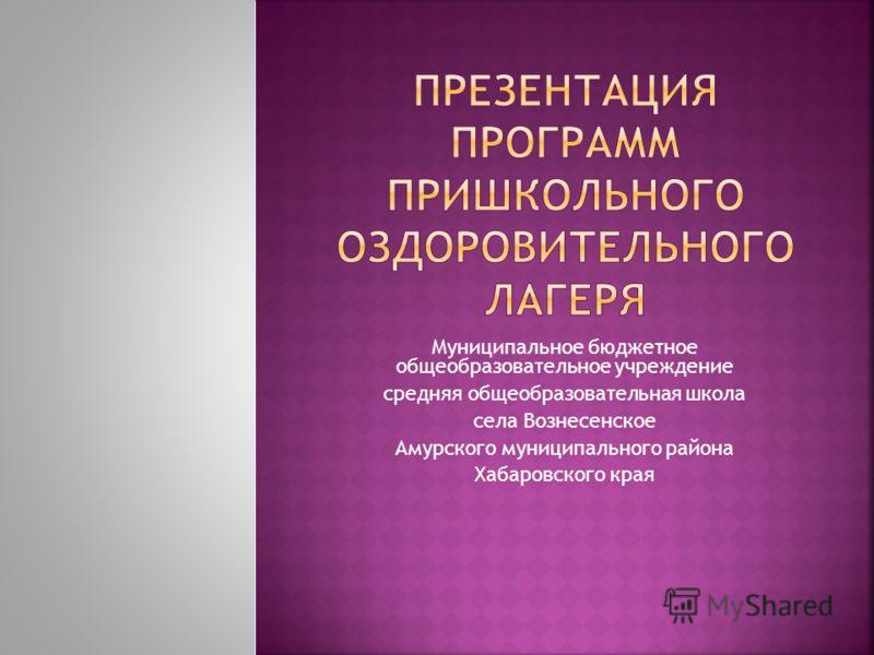 Муниципальное бюджетное общеобразовательное учреждение средняя общеобразовательная школа села Вознесенское Амурского муниципального района Хабаровского края