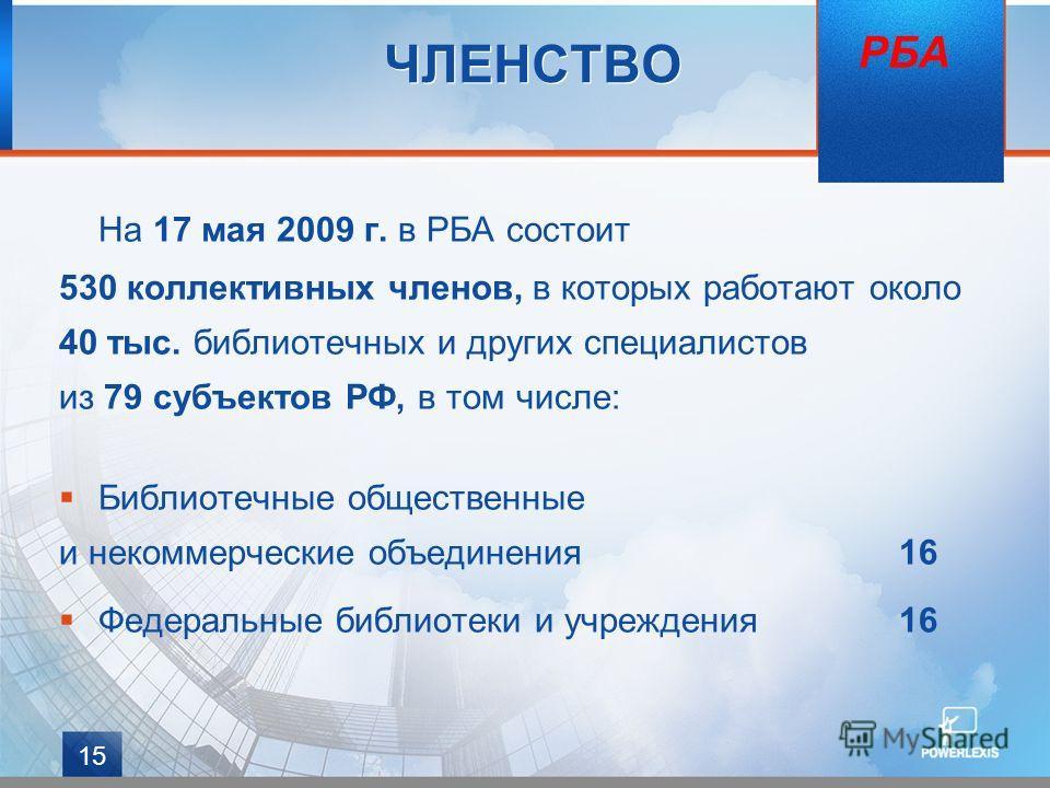 15 ЧЛЕНСТВО На 17 мая 2009 г. в РБА состоит 530 коллективных членов, в которых работают около 40 тыс. библиотечных и других специалистов из 79 субъектов РФ, в том числе: Библиотечные общественные и некоммерческие объединения16 Федеральные библиотеки