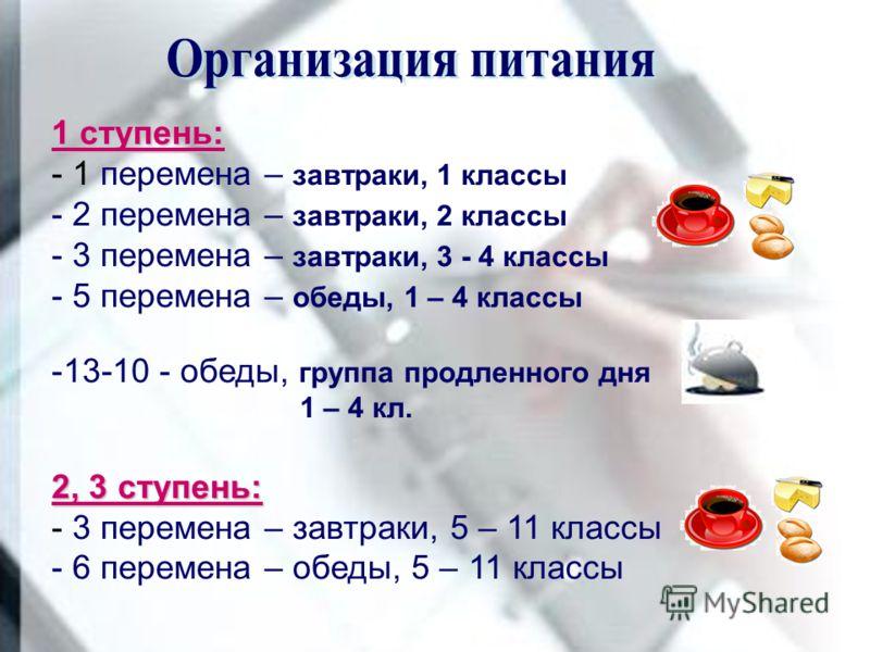 1 ступень: - 1 перемена – завтраки, 1 классы - 2 перемена – завтраки, 2 классы - 3 перемена – завтраки, 3 - 4 классы - 5 перемена – обеды, 1 – 4 классы -13-10 - обеды, группа продленного дня 1 – 4 кл. 2, 3 ступень: - 3 перемена – завтраки, 5 – 11 кла