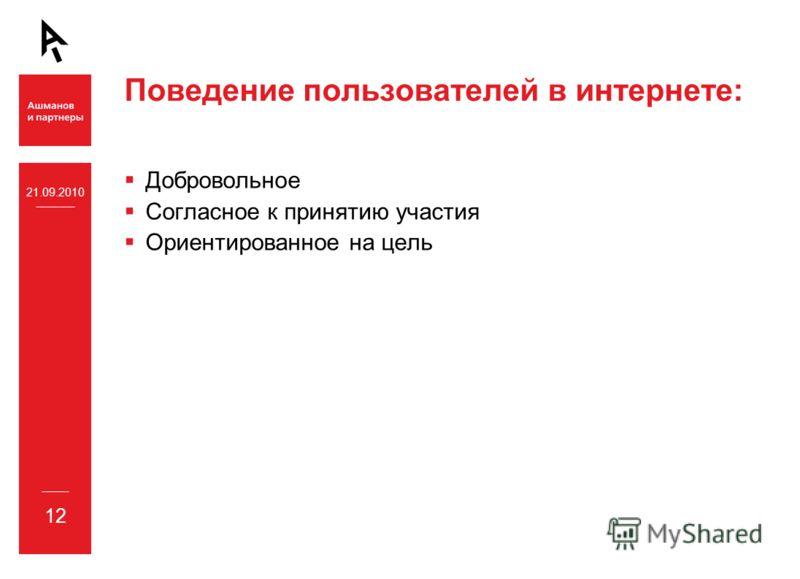 21.09.2010 12 Поведение пользователей в интернете: Добровольное Согласное к принятию участия Ориентированное на цель