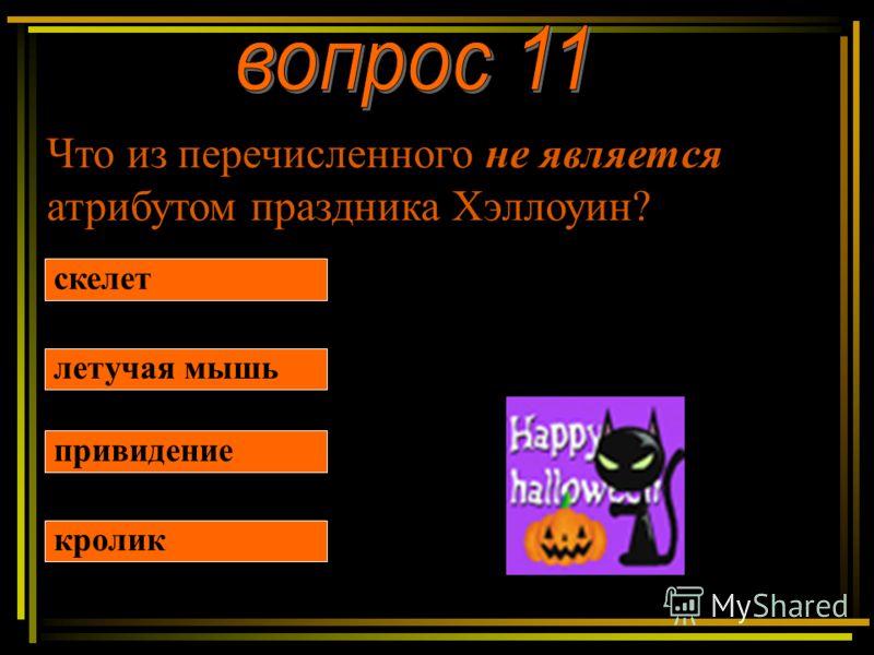 Что из перечисленного не является атрибутом праздника Хэллоуин? скелет летучая мышь привидение кролик