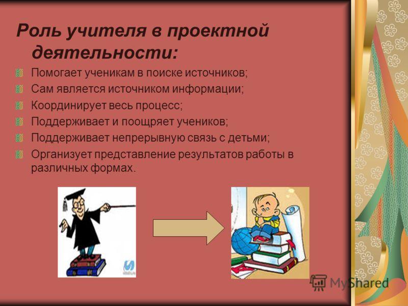 Роль учителя в проектной деятельности: Помогает ученикам в поиске источников; Сам является источником информации; Координирует весь процесс; Поддерживает и поощряет учеников; Поддерживает непрерывную связь с детьми; Организует представление результат