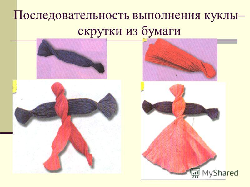 Последовательность выполнения куклы– скрутки из бумаги