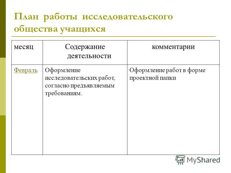План работы исследовательского общества учащихся месяцСодержание деятельности комментарии ФевральОформление исследовательских работ, согласно предъявляемым требованиям. Оформление работ в форме проектной папки