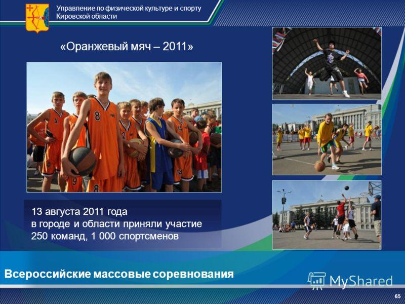 Управление по физической культуре и спорту Кировской области 6565 «Оранжевый мяч – 2011» 13 августа 2011 года в городе и области приняли участие 250 команд, 1 000 спортсменов Всероссийские массовые соревнования
