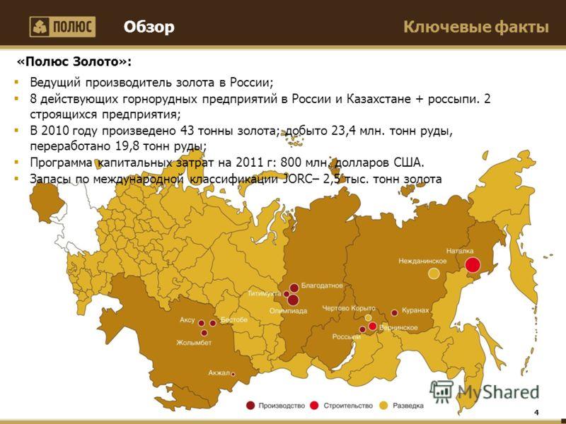 Ключевые факты 4 Ведущий производитель золота в России; 8 действующих горнорудных предприятий в России и Казахстане + россыпи. 2 строящихся предприятия; В 2010 году произведено 43 тонны золота; добыто 23,4 млн. тонн руды, переработано 19,8 тонн руды;