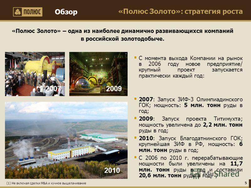 «Полюс Золото»: стратегия роста «Полюс Золото» – одна из наиболее динамично развивающихся компаний в российской золотодобыче. С момента выхода Компании на рынок в 2006 году новое предприятие/ крупный проект запускается практически каждый год: 2007: З