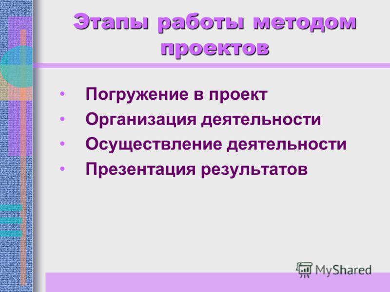 Этапы работы методом проектов Погружение в проект Организация деятельности Осуществление деятельности Презентация результатов