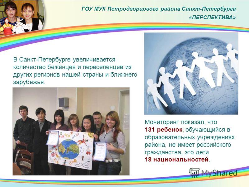 В Санкт-Петербурге увеличивается количество беженцев и переселенцев из других регионов нашей страны и ближнего зарубежья. Мониторинг показал, что 131 ребенок, обучающийся в образовательных учреждениях района, не имеет российского гражданства, это дет