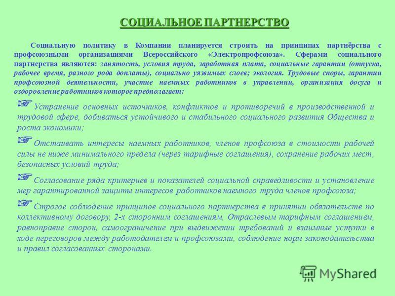 СОЦИАЛЬНОЕ ПАРТНЕРСТВО Социальную политику в Компании планируется строить на принципах партнёрства с профсоюзными организациями Всероссийского «Электропрофсоюза». Сферами социального партнерства являются: занятость, условия труда, заработная плата, с