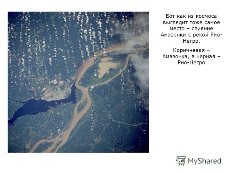 Вот как из космоса выглядит тоже самое место – слияние Амазонки с рекой Рио- Негро. Коричневая – Амазонка, а черная – Рио-Негро