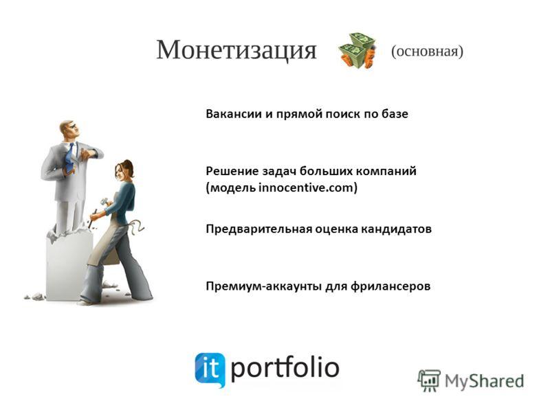 Вакансии и прямой поиск по базе Решение задач больших компаний (модель innocentive.com) Предварительная оценка кандидатов Премиум-аккаунты для фрилансеров