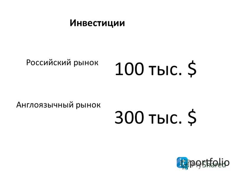 300 тыс. $ Инвестиции 100 тыс. $ Российский рынок Англоязычный рынок