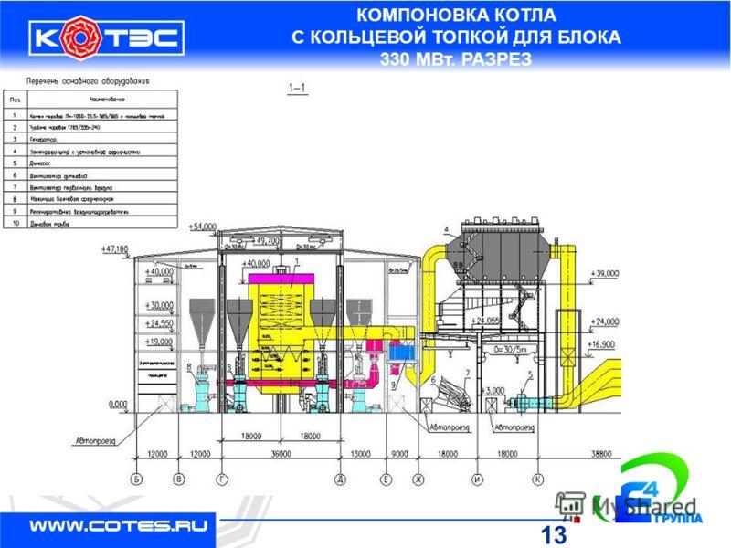 КОМПОНОВКА КОТЛА С КОЛЬЦЕВОЙ ТОПКОЙ ДЛЯ БЛОКА 330 МВт. РАЗРЕЗ 13