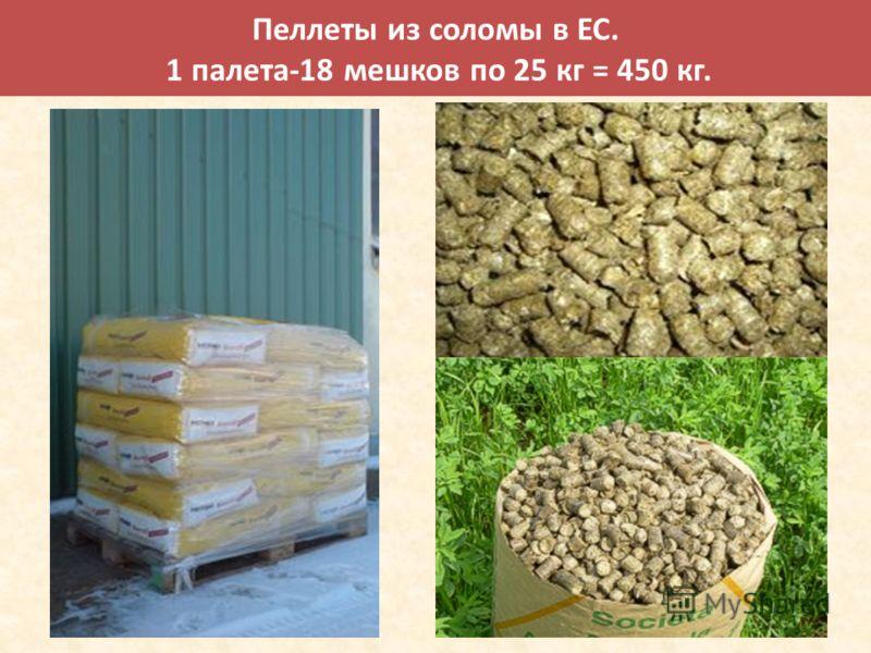 Пеллеты из соломы в EC. 1 палета-18 мешков по 25 кг = 450 кг.