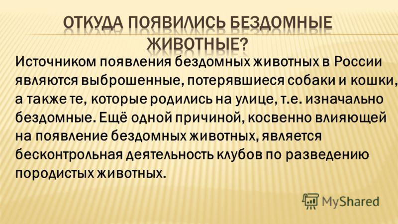 Источником появления бездомных животных в России являются выброшенные, потерявшиеся собаки и кошки, а также те, которые родились на улице, т.е. изначально бездомные. Ещё одной причиной, косвенно влияющей на появление бездомных животных, является беск