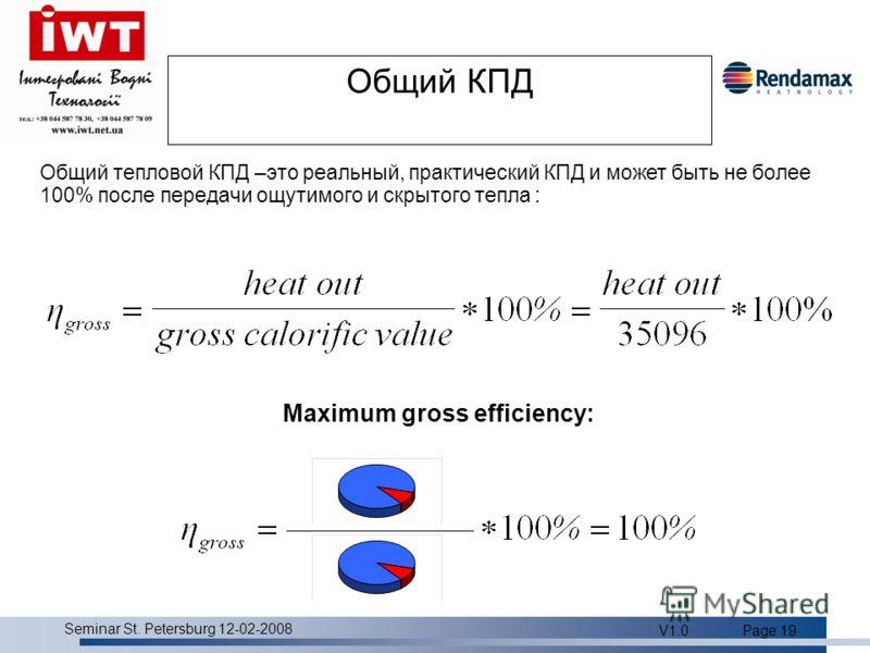 Product overview Seminar St. Petersburg 12-02-2008 V1.0Page 19 Общий КПД Общий тепловой КПД –это реальный, практический КПД и может быть не более 100% после передачи ощутимого и скрытого тепла : Maximum gross efficiency: