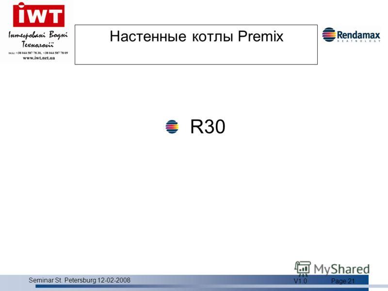 Product overview Seminar St. Petersburg 12-02-2008 V1.0Page 21 Настенные котлы Premix R30