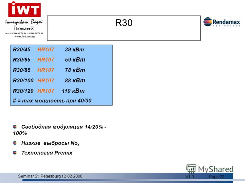 Product overview Seminar St. Petersburg 12-02-2008 V1.0Page 22 R30 R30/45HR107 39 кВт R30/65HR107 59 кВт R30/85HR107 78 кВт R30/100HR107 88 кВт R30/120HR107110 кВт # = max мощность при 40/30 Свободная модуляция 14/20% - 100% Низкие выбросы No x Техно