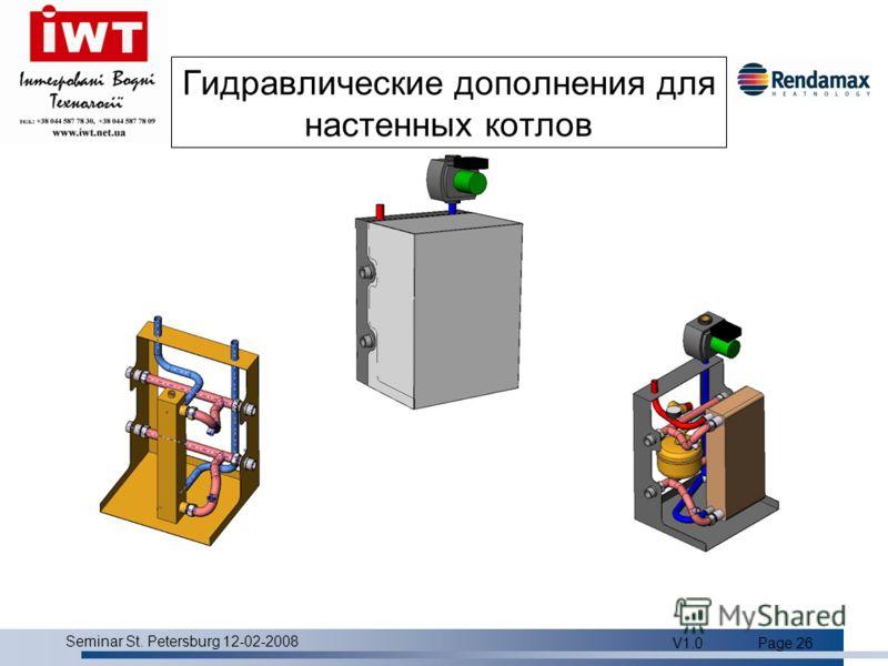 Product overview Seminar St. Petersburg 12-02-2008 V1.0Page 26 Гидравлические дополнения для настенных котлов