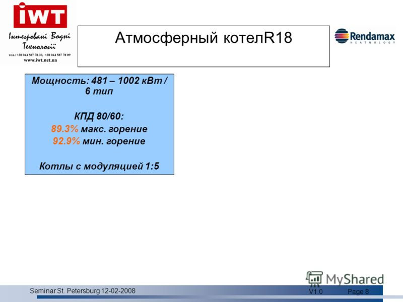 Product overview Seminar St. Petersburg 12-02-2008 V1.0Page 8 Атмосферный котелR18 Мощность: 481 – 1002 кВт / 6 тип КПД 80/60: 89.3% макс. горение 92.9% мин. горение Котлы с модуляцией 1:5
