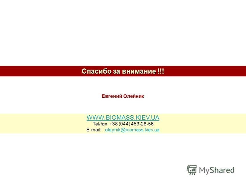 Спасибо за внимание !!! WWW.BIOMASS.KIEV.UA Tel/fax: +38 (044) 453-28-56 E-mail: oleynik@biomass.kiev.ua oleynik@biomass.kiev.ua Евгений Олейник