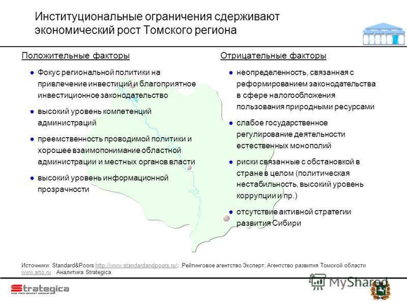 Обь Институциональные ограничения сдерживают экономический рост Томского региона Положительные факторы Фокус региональной политики на привлечение инвестиций и благоприятное инвестиционное законодательство высокий уровень компетенций администраций пре
