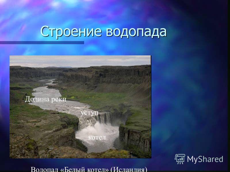 Строение водопада Долина реки уступ котел Водопад «Белый котел» (Исландия)