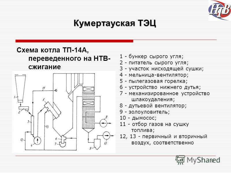 9 Кумертауская ТЭЦ Схема котла ТП-14А, переведенного на НТВ- сжигание 1 - бункер сырого угля; 2 - питатель сырого угля; 3 - участок нисходящей сушки; 4 - мельница-вентилятор; 5 - пылегазовая горелка; 6 - устройство нижнего дутья; 7 - механизированное