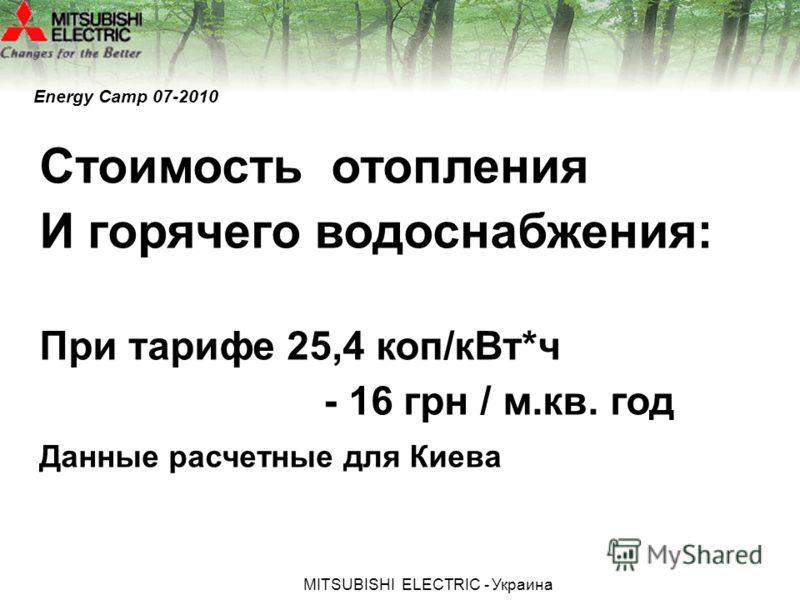 МITSUBISHI ЕLECTRIC - Украина Energy Camp 07-2010 Стоимость отопления И горячего водоснабжения: При тарифе 25,4 коп/кВт*ч - 16 грн / м.кв. год Данные расчетные для Киева