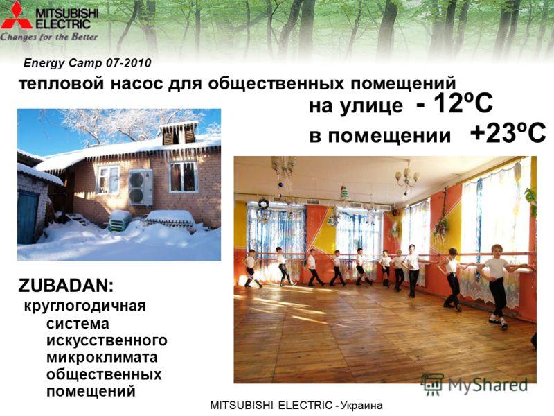 МITSUBISHI ЕLECTRIC - Украина ZUBADAN: круглогодичная система искусственного микроклимата общественных помещений на улице - 12ºС в помещении +23ºС тепловой насос для общественных помещений Energy Camp 07-2010