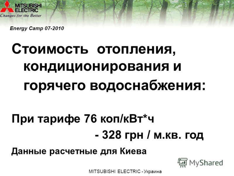 МITSUBISHI ЕLECTRIC - Украина Energy Camp 07-2010 Стоимость отопления, кондиционирования и горячего водоснабжения: При тарифе 76 коп/кВт*ч - 328 грн / м.кв. год Данные расчетные для Киева