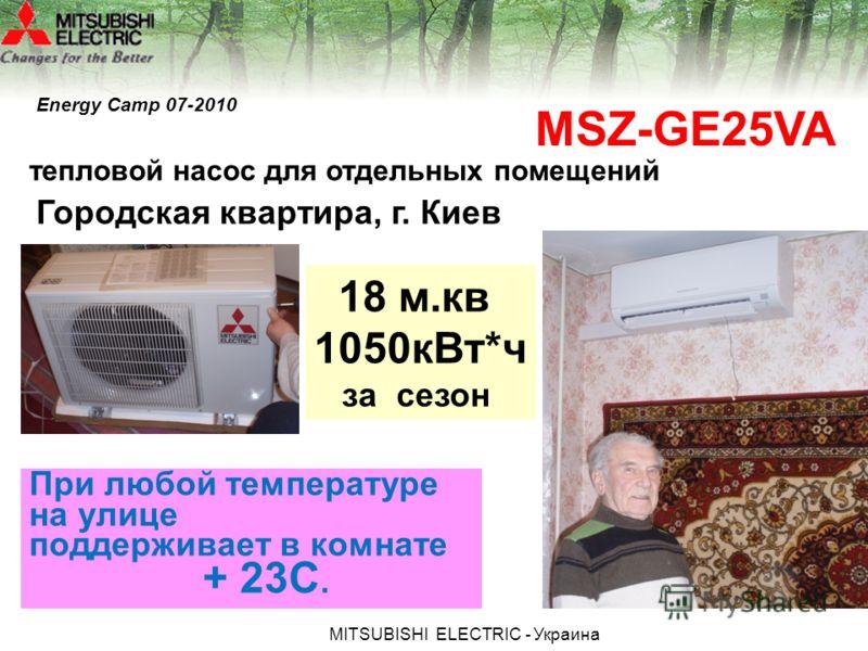 МITSUBISHI ЕLECTRIC - Украина тепловой насос для отдельных помещений Городская квартира, г. Киев MSZ-GE25VA При любой температуре на улице поддерживает в комнате + 23С. 18 м.кв 1050кВт*ч за сезон Energy Camp 07-2010