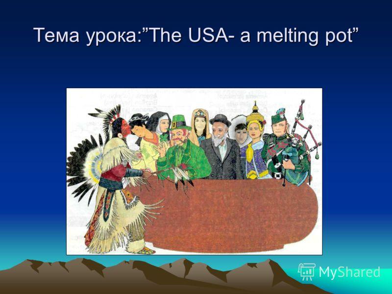 Тема урока:The USA- a melting pot