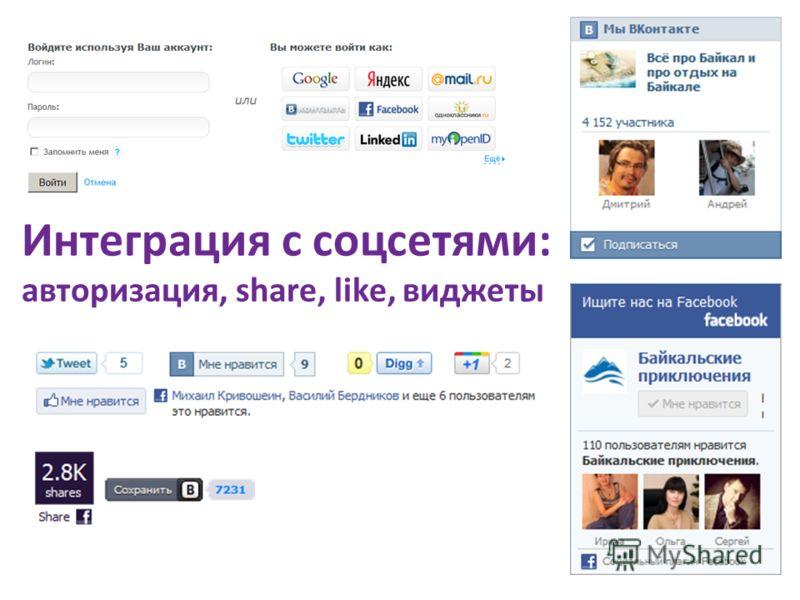 Интеграция с соцсетями: авторизация, share, like, виджеты