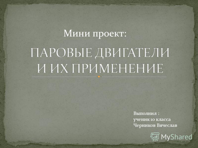 Мини проект: Выполнил : ученик 10 класса Черников Вячеслав