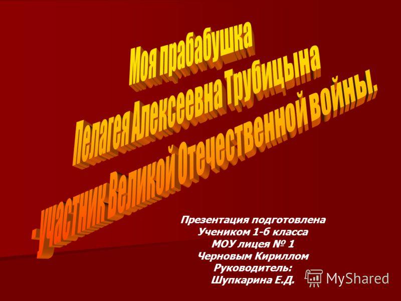 Презентация подготовлена Учеником 1-б класса МОУ лицея 1 Черновым Кириллом Руководитель: Шупкарина Е.Д.