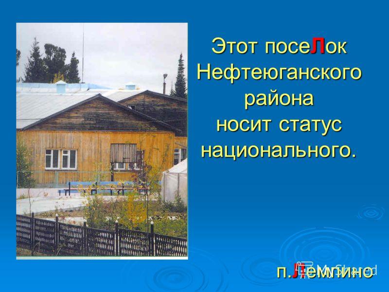 Этот посеЛок Нефтеюганского района носит статус национального. п.Лемпино
