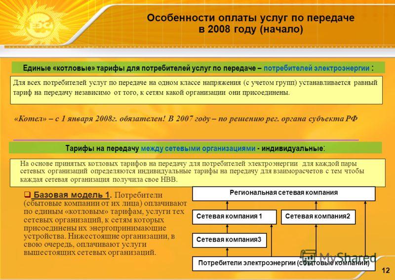 12 Особенности оплаты услуг по передаче в 2008 году (начало) Единые «котловые» тарифы для потребителей услуг по передаче – потребителей электроэнергии : Тарифы на передачу между сетевыми организациями - индивидуальные : «Котел» – с 1 января 2008г. об