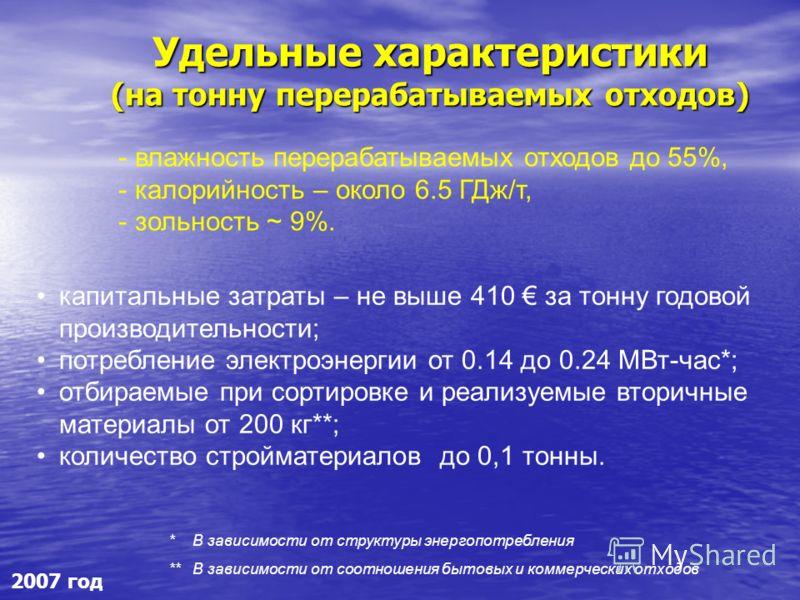 Удельные характеристики (на тонну перерабатываемых отходов) капитальные затраты – не выше 410 за тонну годовой производительности; потребление электроэнергии от 0.14 до 0.24 МВт-час*; отбираемые при сортировке и реализуемые вторичные материалы от 200