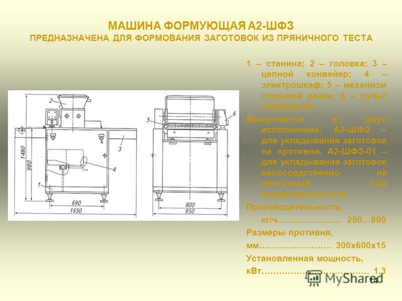 14 МАШИНА ФОРМУЮЩАЯ А2-ШФЗ ПРЕДНАЗНАЧЕНА ДЛЯ ФОРМОВАНИЯ ЗАГОТОВОК ИЗ ПРЯНИЧНОГО ТЕСТА 1 – станина; 2 – головка; 3 – цепной конвейер; 4 – электрошкаф; 5 – механизм струнной резки; 6 – пульт управления Выпускается в двух исполнениях: А2-ШФЗ – для уклад