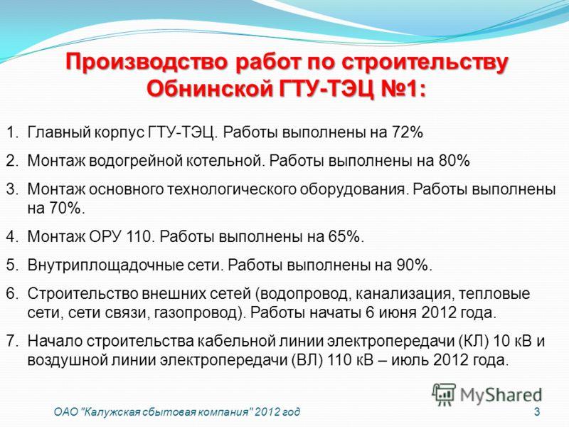 Производство работ по строительству Обнинской ГТУ-ТЭЦ 1: 3 ОАО
