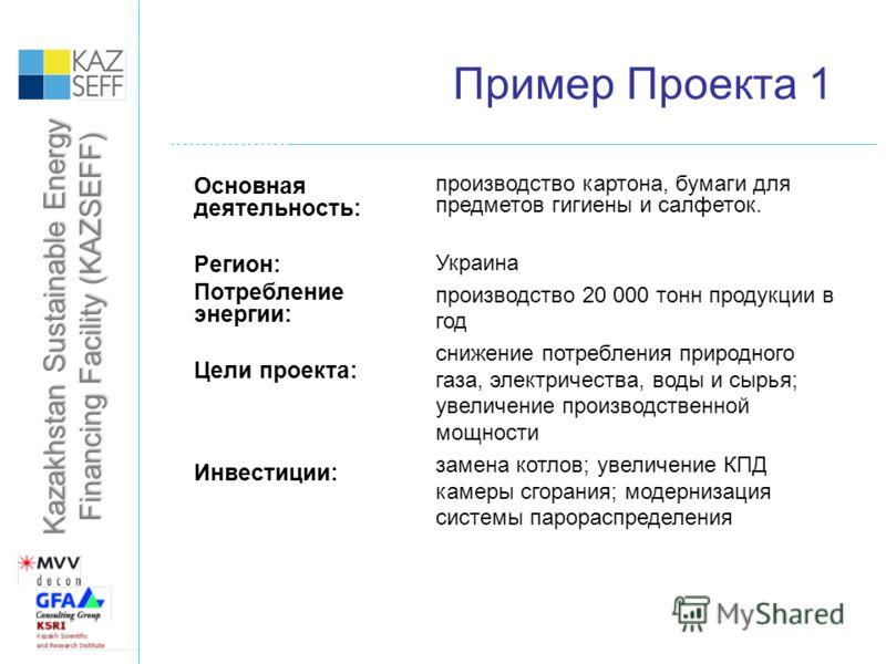Kazakhstan Sustainable Energy Financing Facility (KAZSEFF) Пример Проекта 1 Основная деятельность: Регион: Потребление энергии: Цели проекта: Инвестиции: производство картона, бумаги для предметов гигиены и салфеток. Украина производство 20 000 тонн